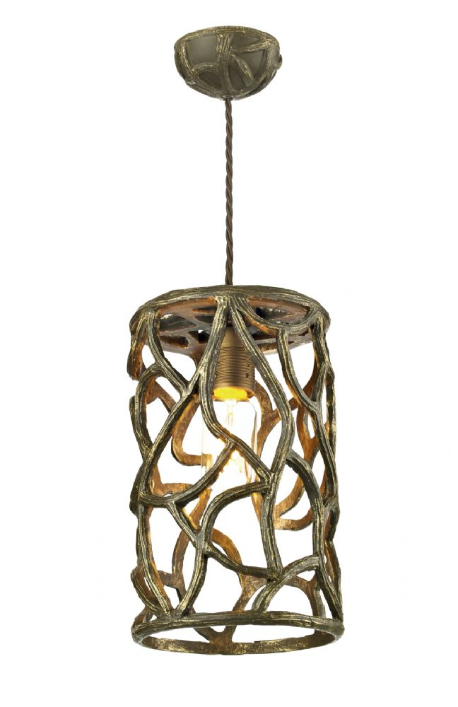 Dar Lyra 1 Light Pendant Brown/Gold LYR0131 (Hand made, 7-10 day Delivery)